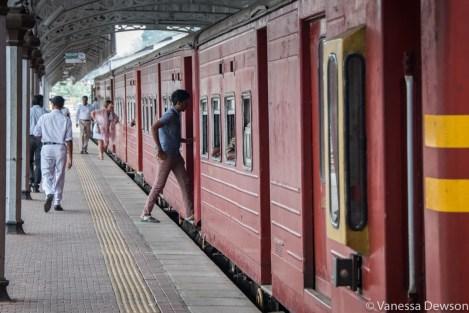 Boarding a train in Kandy, Sri Lanka