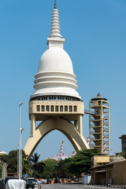 Raised Buddhist stupa at the port in Colombo