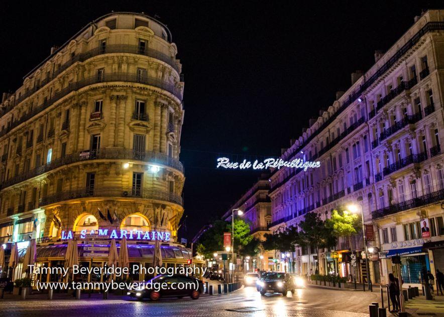 Rue de la République at night. Photo by: Tammy Beveridge