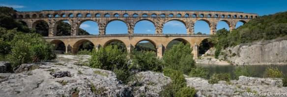 A panorama of Pont du Gard. Photo by: Vanessa Dewson