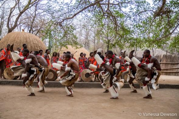 Young Swazi men dancing