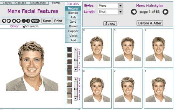 Mens Virtual Hairstyle Makeovers Online Tool