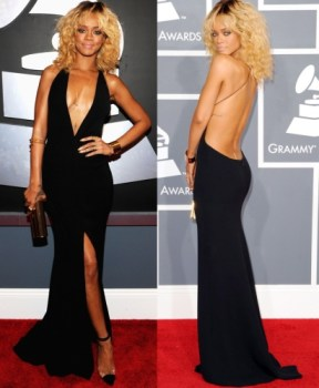 Rihanna looking fabulous on the GRAMMY red carpet
