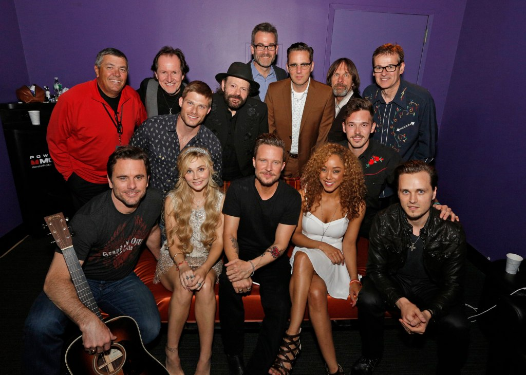 (l-r): back row: Scott Edwards, tour manager; Gary Craig, drums; Colin Linden, guitar; Steve Buchanan, President Opry Entertainment Group; Tim Lauer, keyboard, Jim Hoke, steel guitar/harmonica;guitar; John  Dymond, bass Middle Row: Chris Carmack, Sam Palladio Front Row: Charles Esten, Clare Bowen, Will Chase, Chaley Rose, Jonathan Jackson  Photo By ©2014 Heidi Gutman/ABC