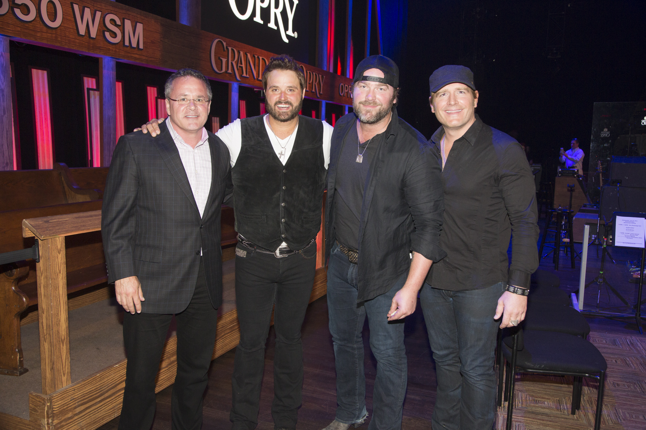 Pictured (L-R): Pete Fisher, Grand Ole Opry General Manager, Randy Houser, Lee Brice and Jerrod Niemann  Photo Credit: Chris Hollo for the Grand Ole Opry 2014