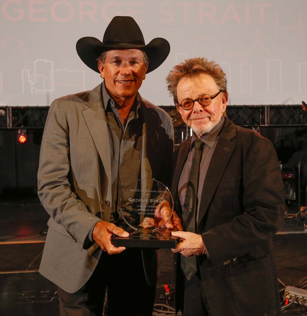 ASCAP Founders Award Honoree George Strait with ASCAP President and Chairman Paul Williams at the 2013 ASCAP Country Music Awards. Photo by Ed Rode.