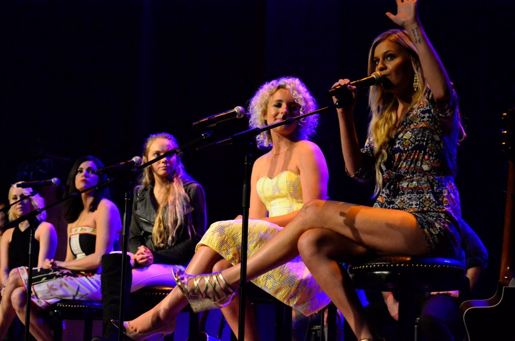 RaeLynn, Angaleena Presley, Danielle Bradbury, CAM and Kelsea Ballerini performing a round at the Country Music Hall of Fame for CMT's Next Women of Country series.