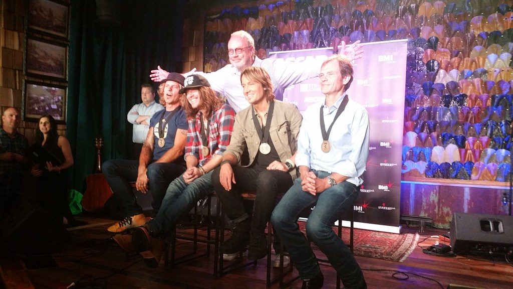 Pictured L to R are: Jeffrey Steele, Jaren Johnston, UMG president Mike Dungan, Keith Urban, and Tom Douglas.
