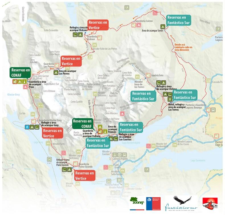 Mappa campeggi e rifugi trekking torres del paine
