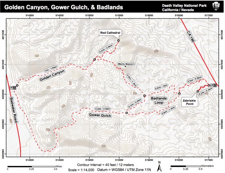 Death Valley trekking trails map