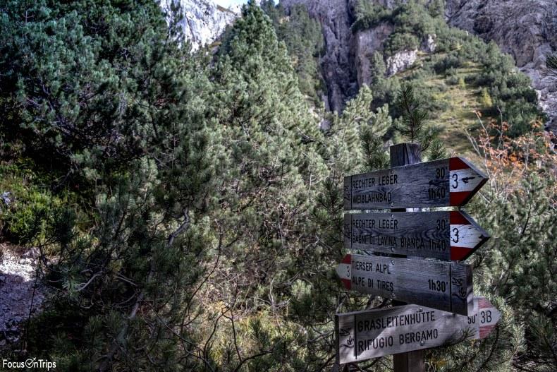 Bivio trekking Rifugio Bergamo-Alpe di Tires