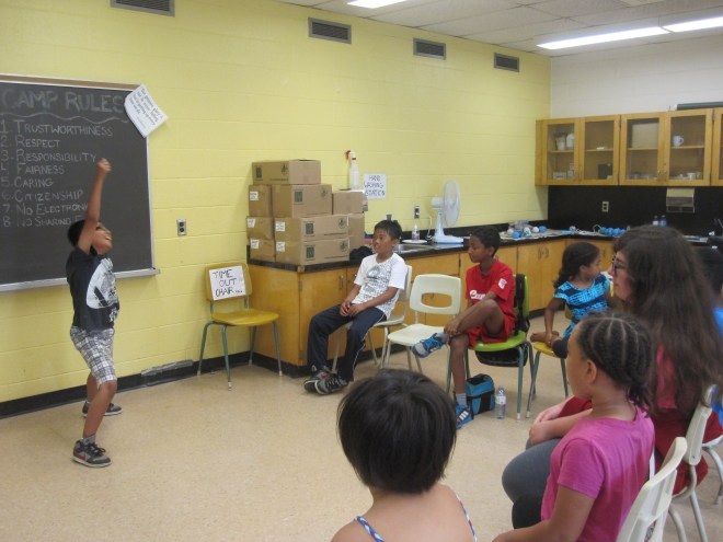 Campers really getting into a game of charades.