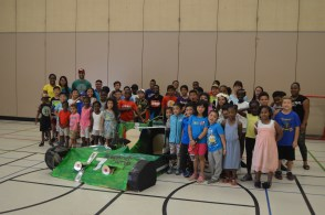 A life size cardboard car every camper helped build!