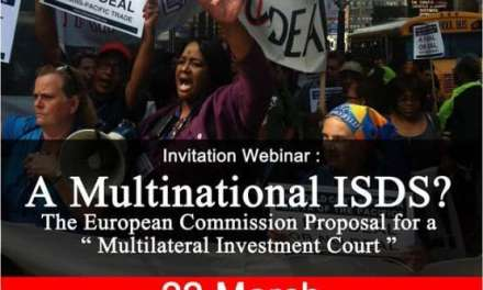 "Webinar Invitation: A Multinational ISDS? The European Commission Proposal for a ""Multilateral Investment Court"""