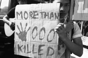 Rodrigo Duterte's flagship domestic policy, The War on Drugs, has killed thousands—and the death toll continues to rise. International Human Rights Day mobilization, Manila, Philippines. 2016 December 10.  Photo by Galileo de Guzman Castillo