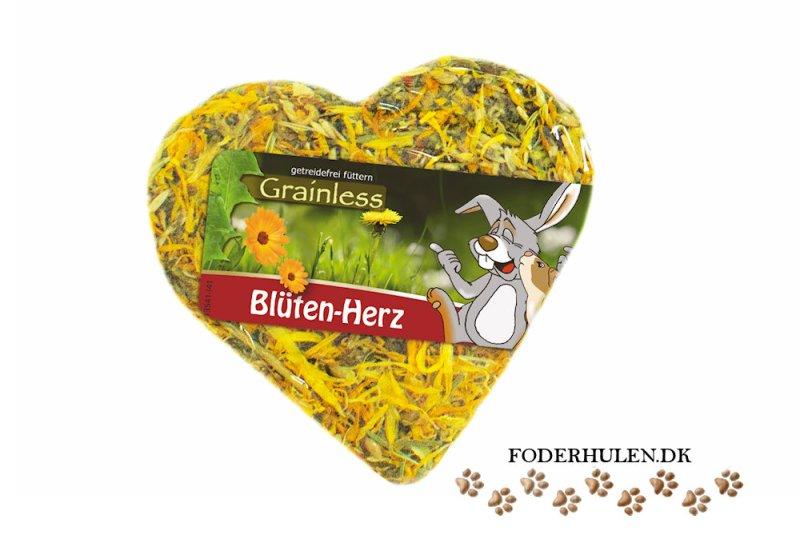JR Grainless Hjerte med kronblade er en snack med masser af urter og grøntsager, der passer både til marsvin, kaniner og smågnavere. - Foderhulen.dk
