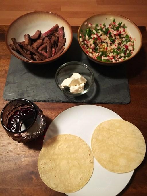 Steak Tacos and Radish Salsa