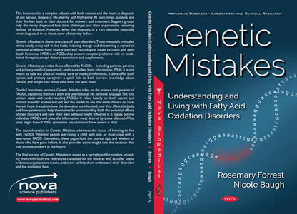 Book cover for Genetic Mistakes: Understanding and Living with Fatty Acid Oxidation Disorders, by Rosemary Forrest and Nicole Baugh