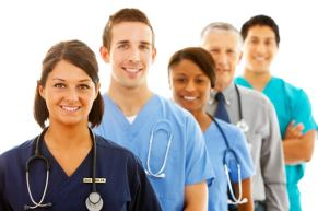A group of medical professionals wearing scrubs and stethoscopes