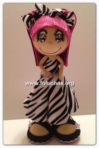 personalized fofucha in zebra dress
