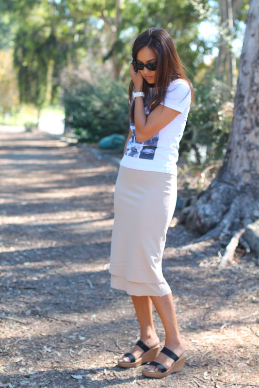 foggydress sewing tan skirt