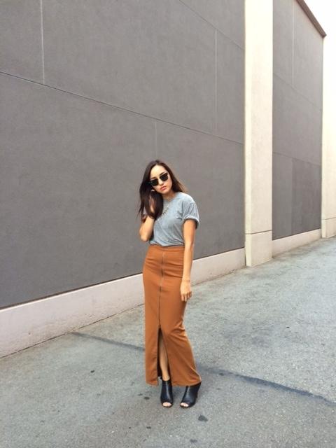 tan skirt, maxi skirt