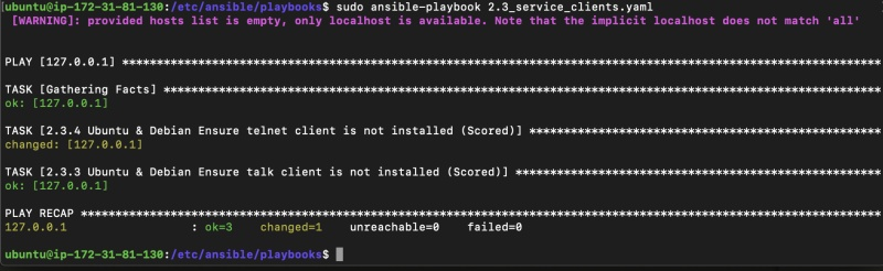 Ansible 2.3_service_clients.yaml playbook output