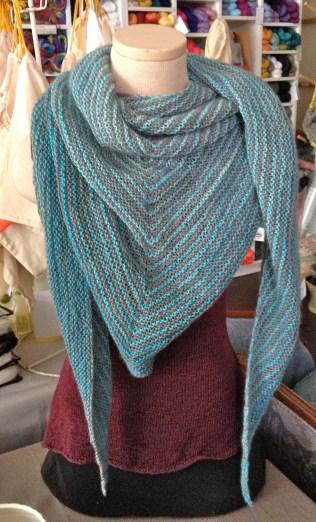 top down gradient shawl knit triangle shawl handmade san francisco fogknits