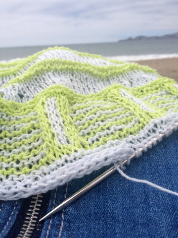 icord bind off rockefeller beach knitting intarsia stripes sylph jade sapphire san francisco bay