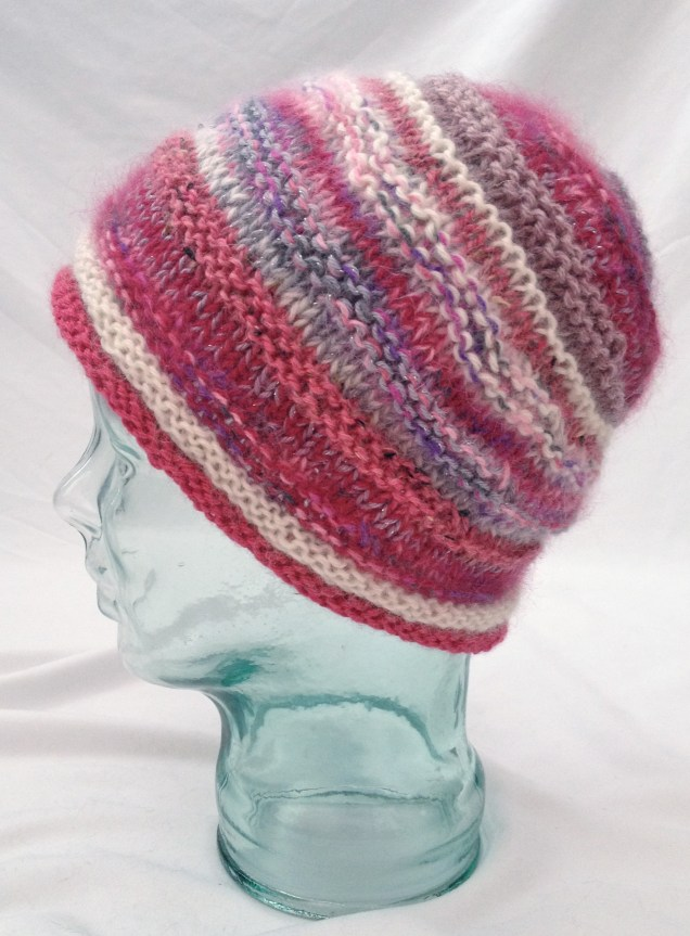 pink hat pink knit hat pink knitted hat striped hat pink stripes fuzzy pink hat furry pink hat warm hat winter hat shaped hat