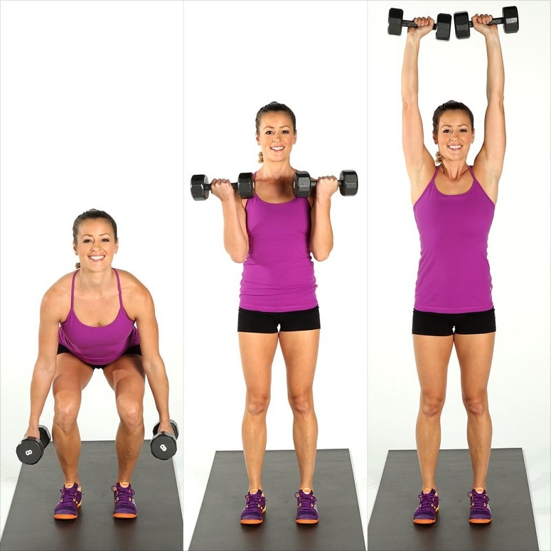 Dumbbell Curl to Squat