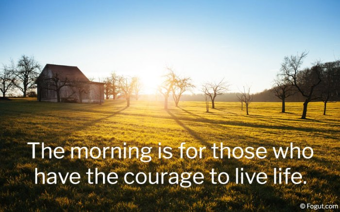 The morning is for those who have the courage to live life.