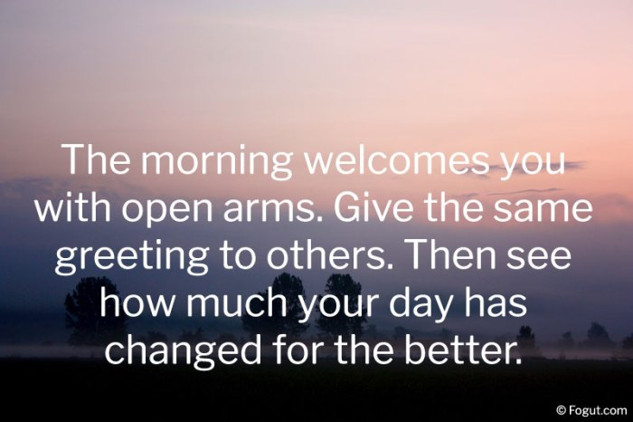 The morning welcomes you with open arms.