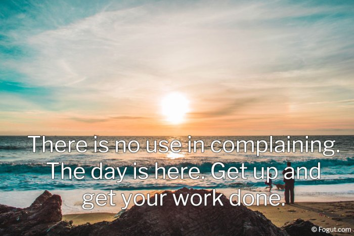 There is no use in complaining. The day is here.