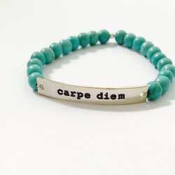 Bratara Carpe diem cu mesaj inspirațional si pietre semipretioase