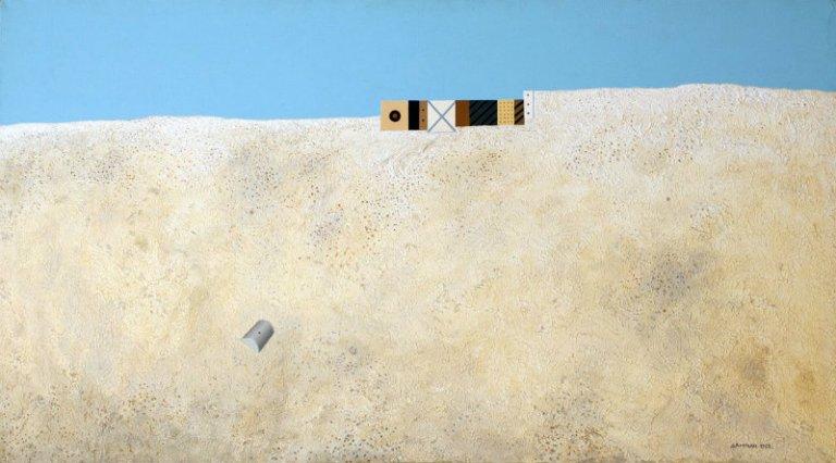 Radomir Damnjanović Damnjan, Peščana obala, 1963, ulje i akril na platnu, 67 x 123 cm