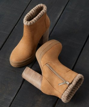 bsk knitted cuff ankle boots with heels 5990