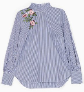 EMBROIDERED SHIRT WITH PERKINS COLLAR strad 2990
