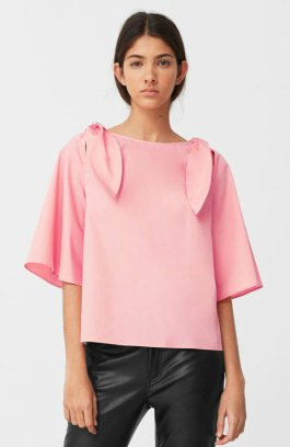 2490 Bow poplin blouse