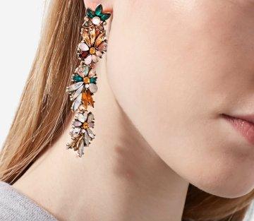 6 strd Long flower earrings 749