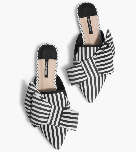 strd 2590 Striped mules with bow