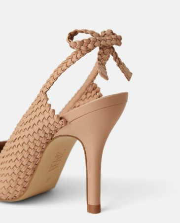 PLAITED HIGH HEEL SLINGBACK SHOES WITH BOW DETAILS 4