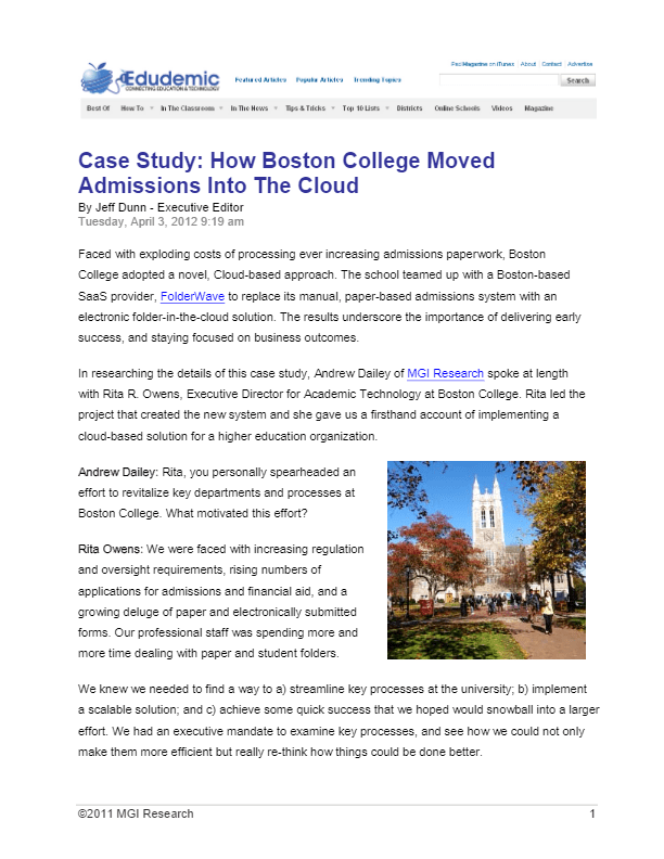 Case Study: How Boston College Moved Admissions Into The Cloud