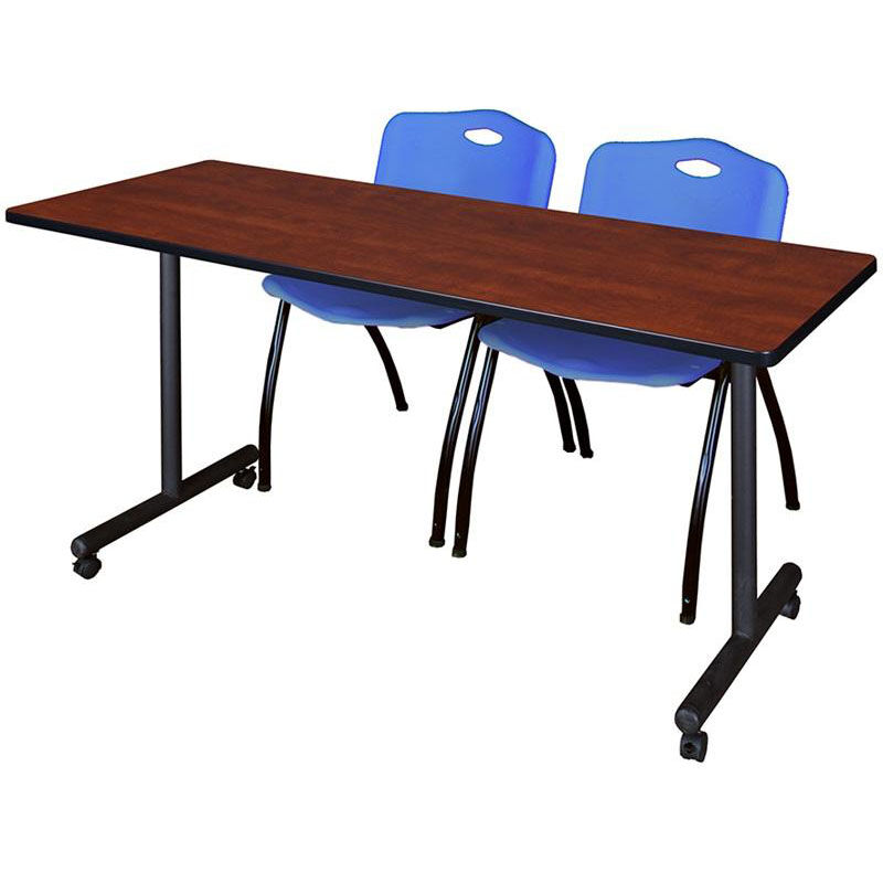At Home Chairs Kobe 66 W X 24 D Mobile Laminate Training Table With 2 M Stack Chairs Cherry Table Finish And Blue Chairs