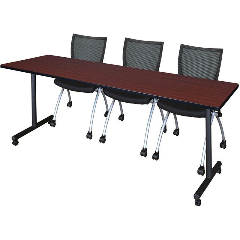 At Home Chairs Kobe 84 W X 24 D Mobile Laminate Training Table With 3 Apprentice Nesting Chairs Mahogany Table Finish And Black Chairs
