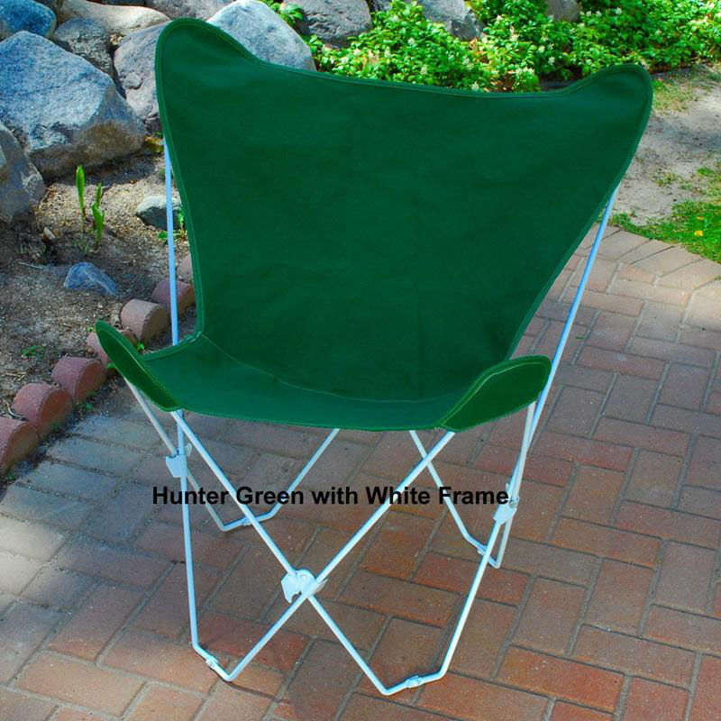 Butterfly Folding Chair Folding Butterfly Chair With White Steel Frame And Cotton Cover Hunter Green