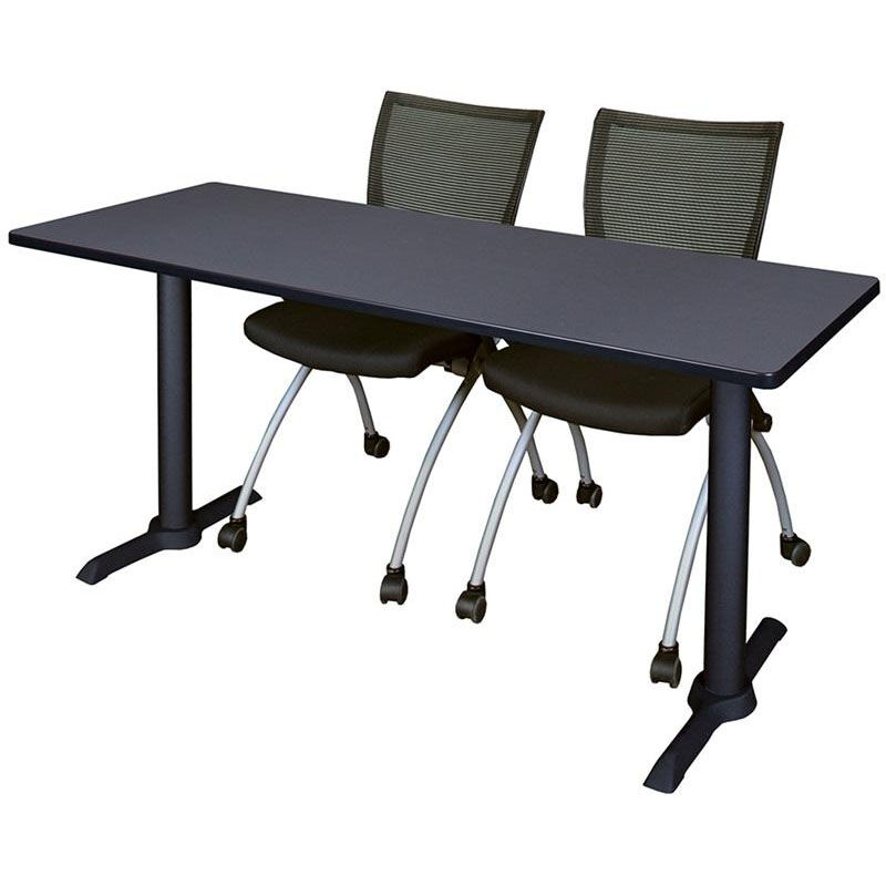At Home Chairs Cain 72 W X 24 D Laminate Training Table With 2 Apprentice Nesting Chairs Gray Table Finish And Black Chairs