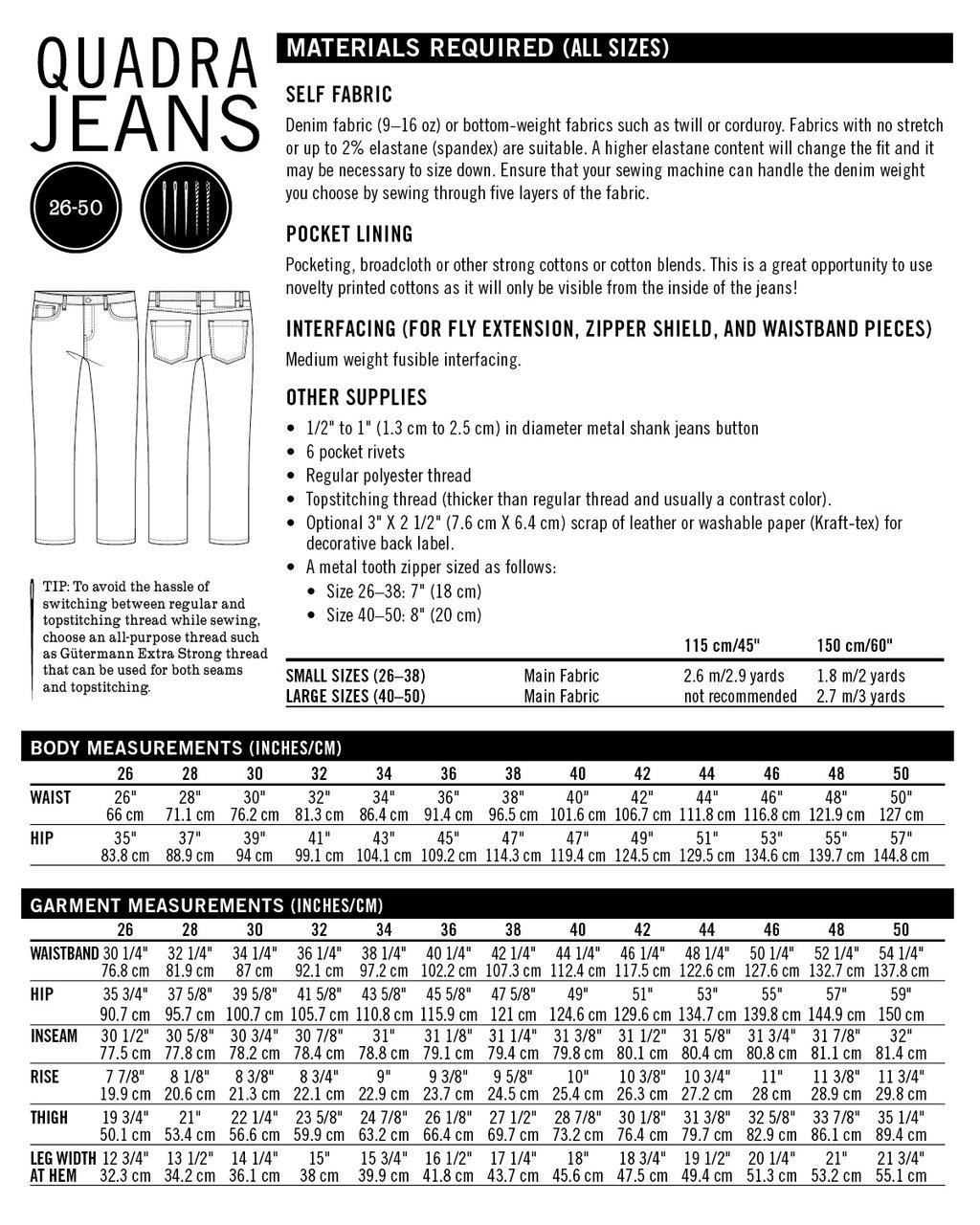 Mens Jeans Pattern : jeans, pattern, Men's, Quadra, Jeans, Foldline