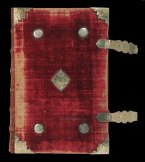 "The ""Bishop's Bible"", 1568. The Folger owns the actual copy of the Bishops' Bible given to Queen Elizabeth by Matthew Parker, Archbishop of Canterbury in October 1568. Bound in red velvet, with silver-gilt bosses decorated Tudor roses, the Bible would have been used in her chapel. On the title page is an engraving of a youthful Elizabeth with flowing hair. With Faith and Charity on each side, she becomes emblematic of Hope. Inside is a handcolored portrait of Sir Robert Dudley, her favorite."