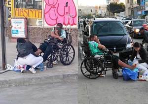 Enfermeira para na calçada e trata feridas de homem em situação de rua